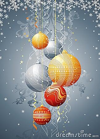 Tarjeta de Navidad con la bola, vec