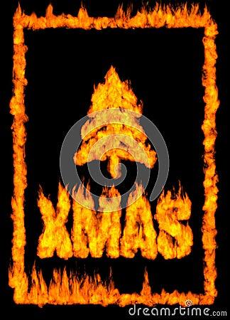Tarjeta de Navidad hecha del fuego