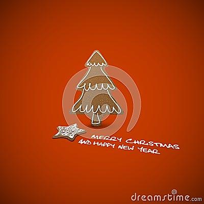 Tarjeta de Navidad - panes del jengibre con la formación de hielo blanca