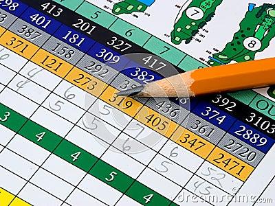 Tarjeta de puntuación del golf