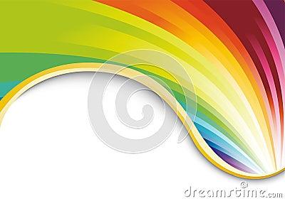 Tarjeta del arco iris con la cinta de oro