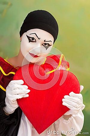 Tarjeta del día de San Valentín Pierrot