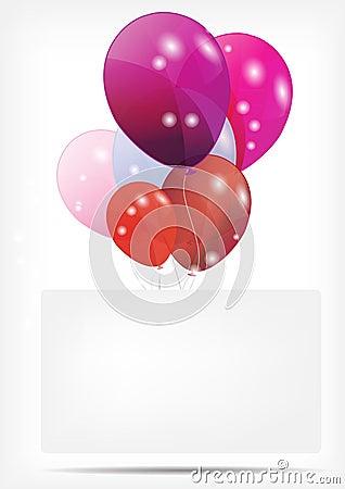 Tarjeta del regalo con la ilustración del vector de los globos