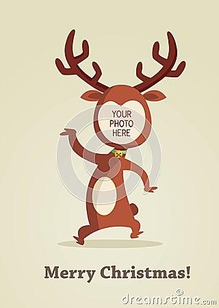 Tarjeta del reno de la Navidad con el lugar para su foto