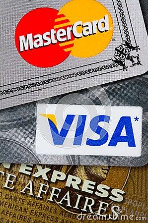 Tarjetas de crédito Foto de archivo editorial