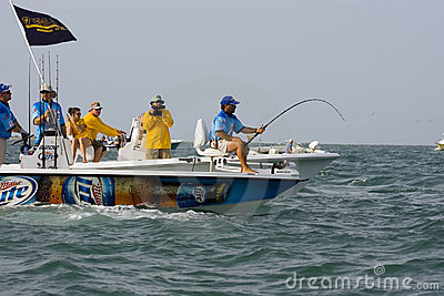 A tarpon hooked up and fighting