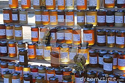 Tarros de miel Foto de archivo editorial