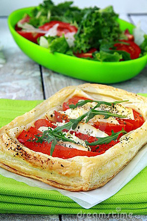 Free Tart Of Puff Pastry With Peppers And Goat Cheese Stock Photos - 19667183