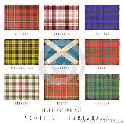 Tartanes escoceses en diseño del grunge