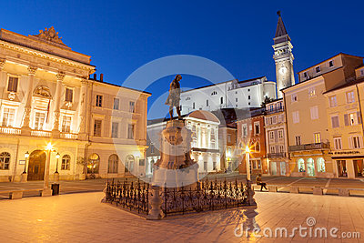 Tartini square in Piran, Slovenia, Europe