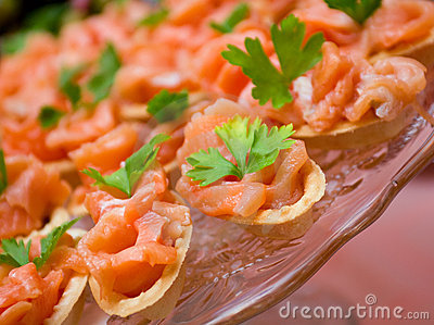 Tartlet  with salmon   . Shallow depth-of-field