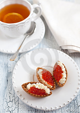 Free Tarts With Red Caviar Stock Images - 28485584