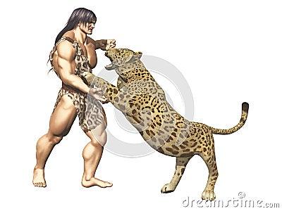 Tarzan wrestles with big cat