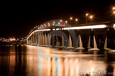 Tasmania bridge at night