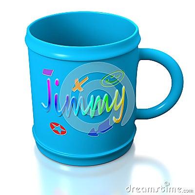 tasse en plastique personnalis e bleue photo libre de droits image 18877695. Black Bedroom Furniture Sets. Home Design Ideas