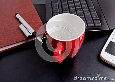 Tasse Kaffee- und Geschäftsgegenstände