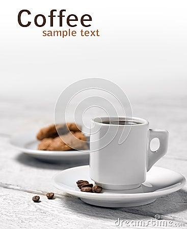 Tasse Kaffee und Plätzchen