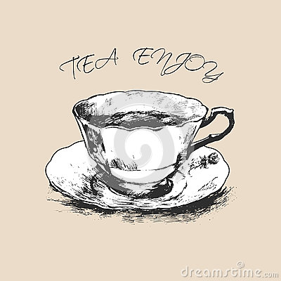 tasse tee hand gezeichnet auch im corel abgehobenen betrag vektor abbildung bild 72688241. Black Bedroom Furniture Sets. Home Design Ideas