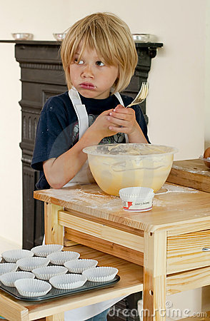 Tasting the cake mix
