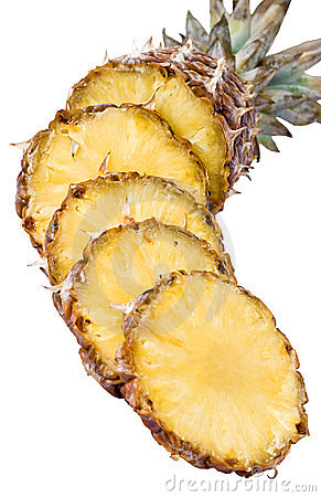 Free Tasty And Ripe Pineapple Slices Over The White Bac Stock Images - 14371304