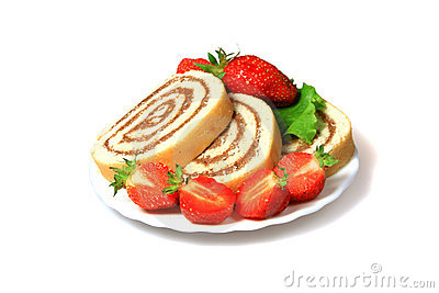 Tasty biscuit rolls and strawberry