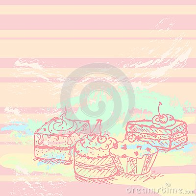Tasty cakes background