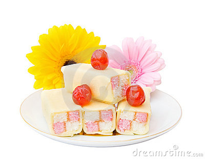 Tasty cakes with flowers