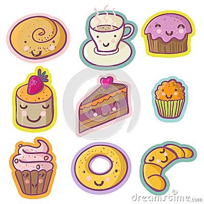 Tasty cartoon set