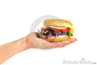Tasty cheeseburger on female hand