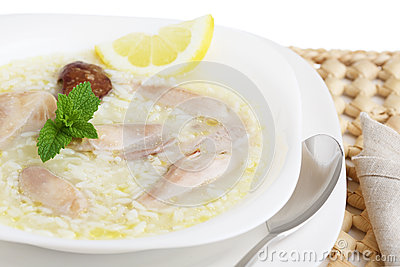 Tasty chicken soup on a table