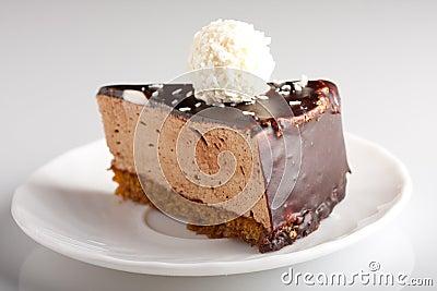 Tasty chocolate cake on the plate