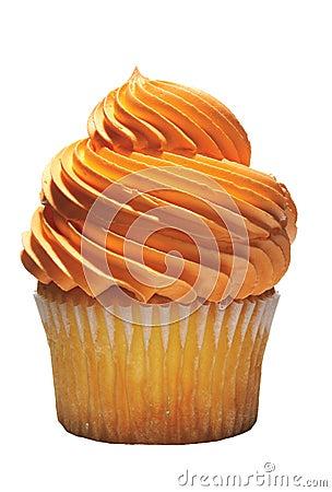 Tasty cupcake with orange icing