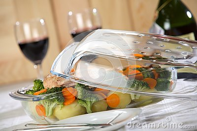 Tasty dinner with wine