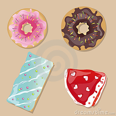 Tasty doughnuts, cake and slice of pie.Vector