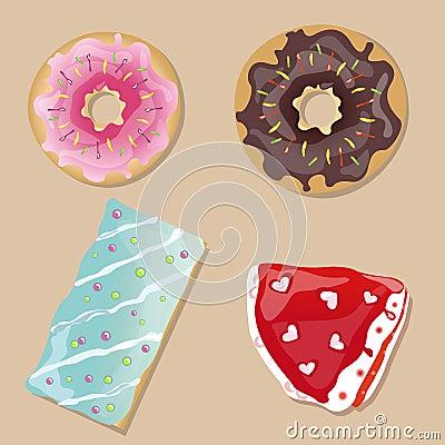 Tasty doughnuts, cake and slice of pie.Vector