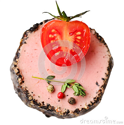 Tasty duck pate appetizer with fresh herbs