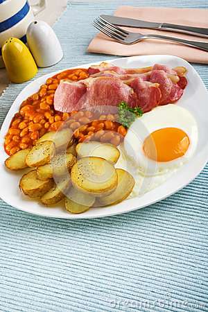 Tasty English Breakfast with Fried Potatoes