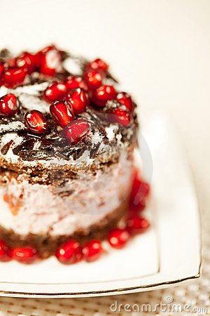 Tasty fancy cake with pomegranate