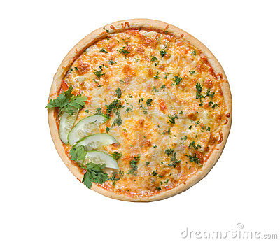 Tasty Italian pizza with become cool cucumber