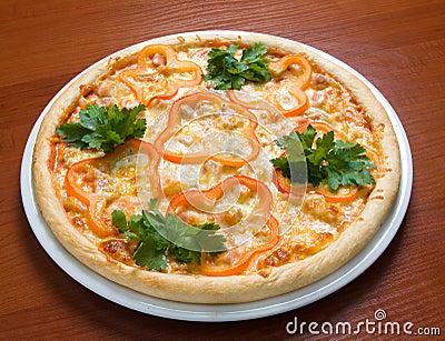 Tasty Italian pizza with paprika