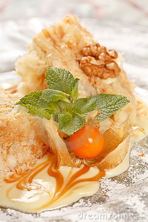 Tasty pastry with caramel
