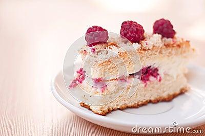 Tasty raspberry sponge cake