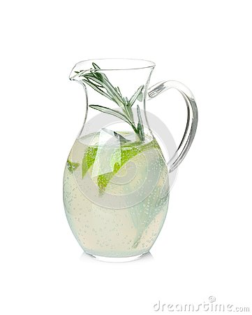 Free Tasty Refreshing Lemonade With Lime And Rosemar Stock Images - 111870384
