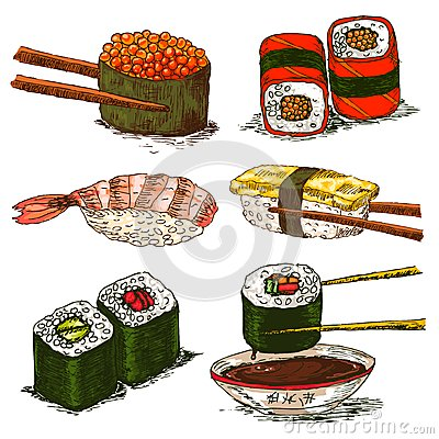 Tasty rolls and sushi set