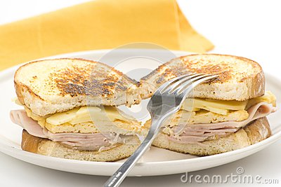 Tasty sandwich of ham and cheese omelet