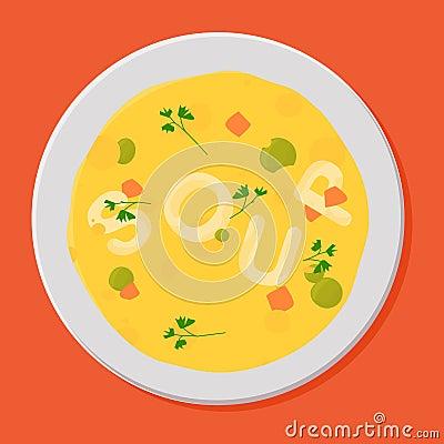 Tasty soup in white bowl.