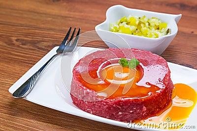 Tasty steak tartare on the plate