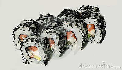 Tasty sushi set with fish and caviar