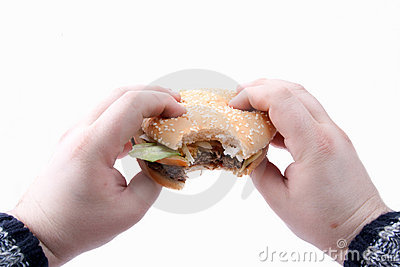 Tasty, yummy hamburger in hands