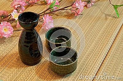 Tatami Mattress and sake bottle